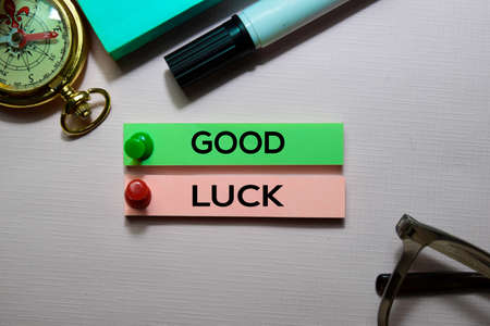 Good Luck text on sticky notes isolated on office desk