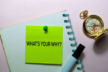 Whats Your Why? text on sticky notes isolated on office desk