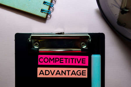 Competitive Advantage text on sticky notes isolated on office desk