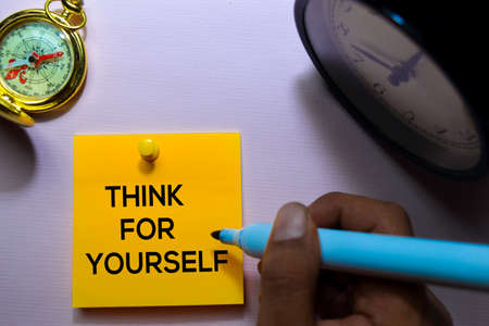 Think For Yourself text on sticky notes isolated on office desk