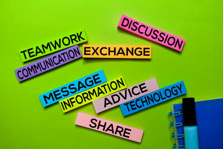 Teamwork, Communication, Exchange, Discussion, Message, Information, Advice, Technology, Share text on sticky notes isolated on green desk. Mechanism Strategy Concept Stock Photo