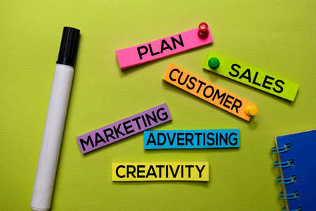 Plan, Sales, Customer, Marketing, Advertising, Creativity text on sticky notes isolated on green desk. Mechanism Strategy Concept Stock Photo