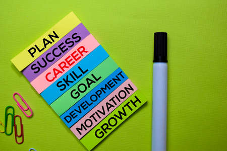 Career, Plan, Success, Skill, Goal, Development, Motivation, Growth text on sticky notes isolated on green desk. Mechanism Strategy Concept