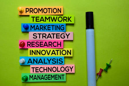 Promotion, Teamwork, Marketing, Strategy, Research, Innovation, Analysis, Technology, Management text on sticky notes isolated on green desk. Mechanism Strategy Concept Stock Photo