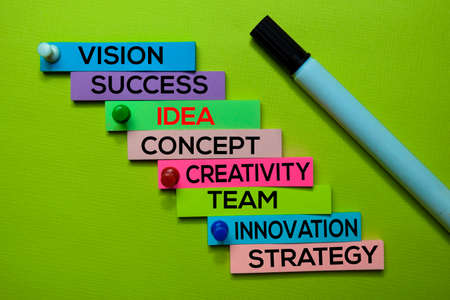 Idea, Vision, Success, Concept, Creativity, Team, Innovation, Strategy text on sticky notes isolated on green desk. Mechanism Strategy Concept