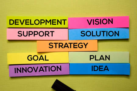 Strategy, Development, Support, Vision, Solution, Goal, Plan, Idea, Innovation text on sticky notes isolated on green desk. Mechanism Strategy Concept