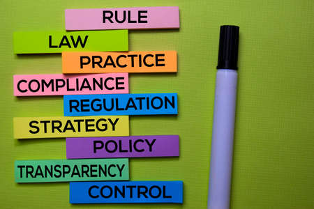 Rule, Law, Practice, Compliance, Regulation, Strategy, Policy, Transparency, Control text on sticky notes isolated on green desk. Mechanism Strategy Concept
