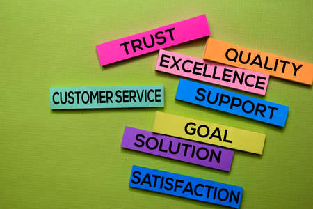 Customer Service, Trust, Quality, Excellence, Support, Goal, Solution, Satisfaction text on sticky notes isolated on green desk. Mechanism Strategy Concept Stock Photo