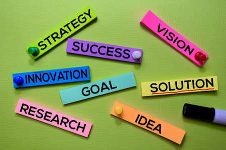 Strategy, Success, Vision, Innovation, Goal, Solution, Research, Idea text on sticky notes isolated on green desk. Mechanism Strategy Concept