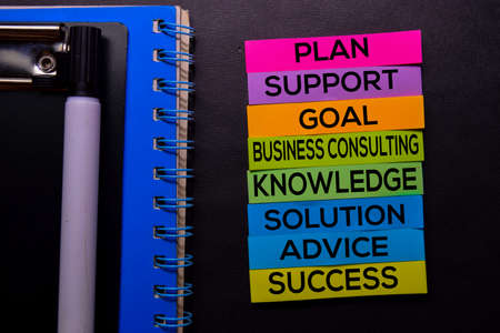Plan, Support, Goal, Business Consulting, Knowledge, Solution, Advice, Success text on sticky notes isolated on Black desk. Mechanism Strategy Concept