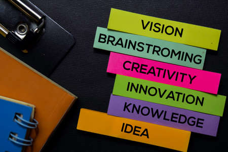 Vision, Brainstroming, Creativity, Innovation, Knowledge, Idea text on sticky notes isolated on Black desk. Mechanism Strategy Concept
