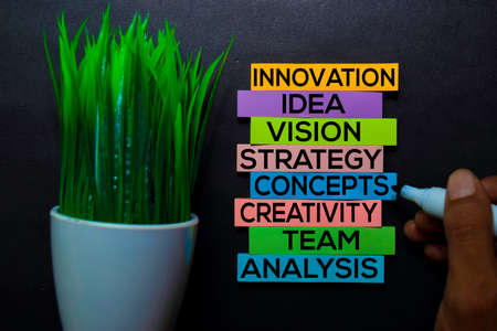 Innovation, Idea, Vision, Strategy, Concepts, Creativity, Team, Analysis text on sticky notes isolated on Black desk. Mechanism Strategy Concept Stock Photo