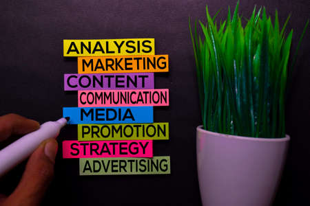 Analysis, Marketing, Content, Communication, Media, Promotion, Strategy, Advertising text on sticky notes isolated on Black desk. Mechanism Strategy Concept