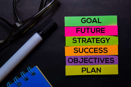 Goal, Future, Strategy, Success, Objectives, Plan text on sticky notes isolated on Black desk. Mechanism Strategy Concept