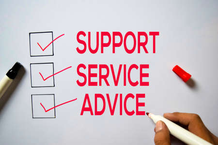 Support, Service Advice text isolated on white board background. 写真素材