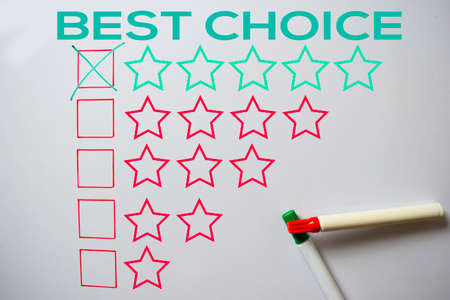 Best Choice Give Rating Five Stars text isolated on white board background.