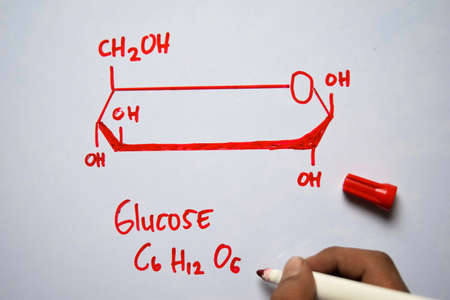 Glucose (C6,H12,O6) molecule written on the white board. Structural chemical formula. Education concept