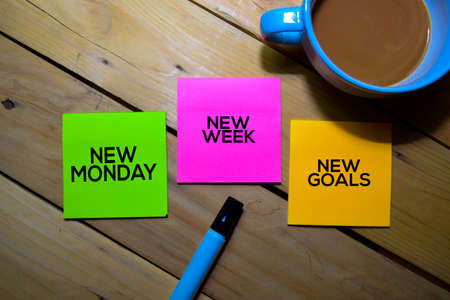 New Monday New Week New Goals text on sticky notes isolated on table background