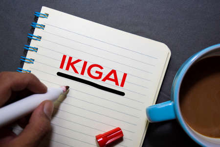 IKIGAI text on the book isolated on office desk background. Japanese concept Imagens