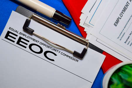Equal Employment Opportunity Commission (EEOC) text on Document form isolated on office desk. Stock fotó