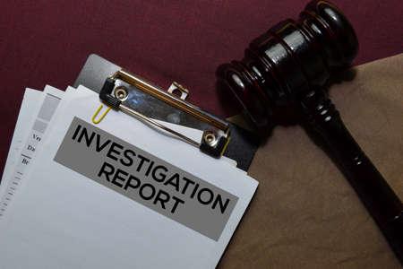 Investigation Report Document form and Black Judges gavel on office desk. Law concept Stok Fotoğraf