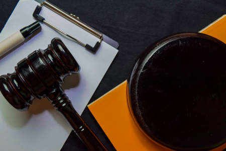 Black Judges gavel and Book on office desk. Law concept Stock Photo