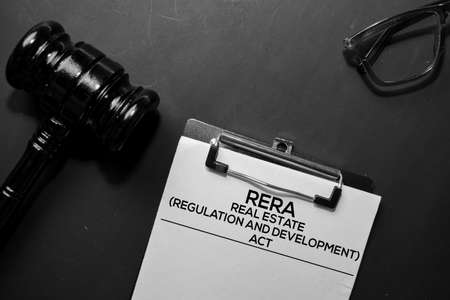 Real Estate Regulation and Development Act (RERA) text on Document and gavel isolated on office desk. Law concept