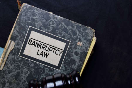 Bankruptcy Law book and gavel isolated on office desk. Law concept Stock fotó