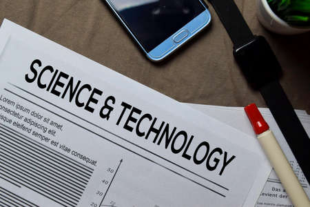 Science and Technology text in headline isolated on brown background. Newspaper concept 版權商用圖片