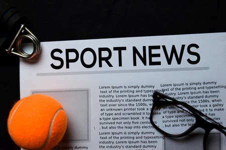 Sport News text in headline isolated on brown background. Newspaper concept