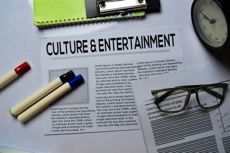 Culture and Entertainment text in headline isolated on white background. Newspaper concept