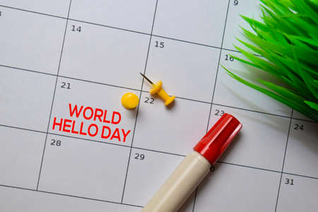 World Hello Day write on calendar. Date 21 November. Reminder or Schedule Concepts Фото со стока