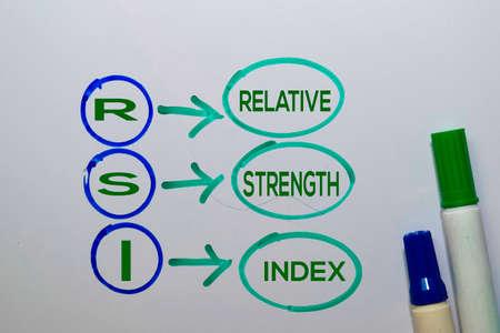 RSI - Relative Strength Index acronym write on sticky notes isolated on white background.