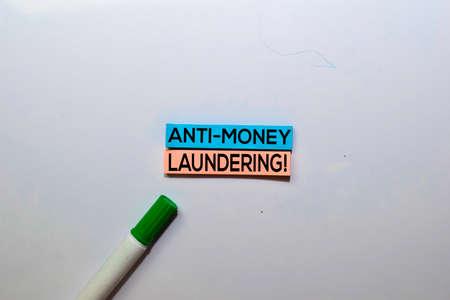 Anti-Money Laundering write on sticky notes isolated on White background.