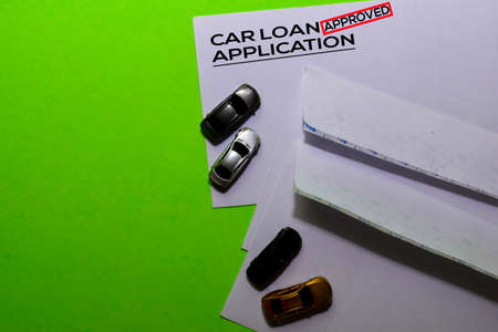 Car Loan Application in Approved with post card on office desk background Stockfoto - 132092855