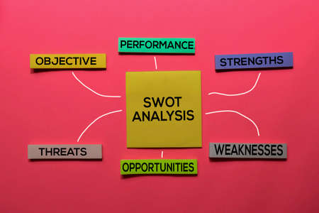 SWOT Analysis text with keywords isolated on white board background. Chart or mechanism concept. Stok Fotoğraf - 132865231