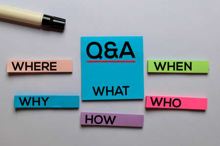 Q&A. Where, Why, What, When, Who, How write on sticky notes. Isolated on white table background