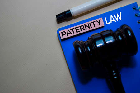 Paternity Law text on sticky notes and gavel isolated on office desk. Justice law concept