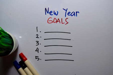 New Year Goals with check list write on white board background