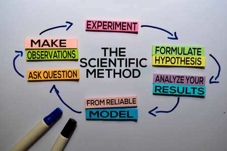 The Scientific Method text with keywords isolated on white board background. Chart or mechanism concept. 스톡 콘텐츠