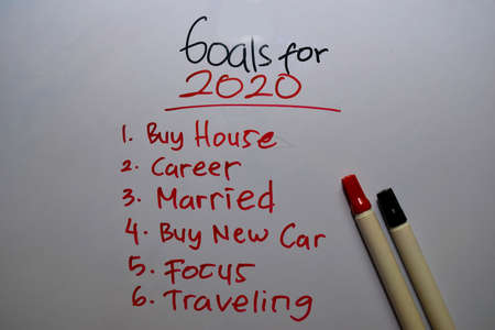 Goals For 2020 with wishes write on white board background