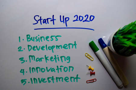 Start up 2020 with wishes write on white board background Reklamní fotografie