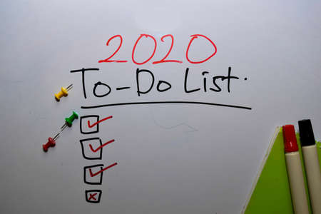 2020 To-Do List with check list write on white board background