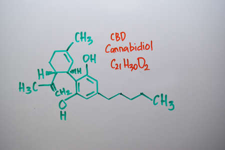 Cannabidiol (CBD) write on the white board. Structural chemical formula. Education concept