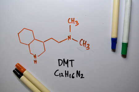 DMT write on the white board. Structural chemical formula. Education concept