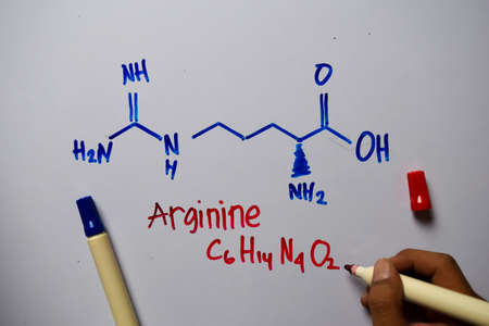 Arginine write on the white board. Structural chemical formula. Education concept