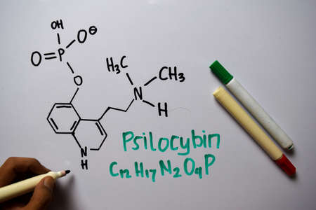 Psilocybin write on the white board. Structural chemical formula. Education concept Stockfoto - 134262077