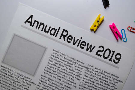Annual Review 2019 text in headline isolated on white background. Newspaper concept