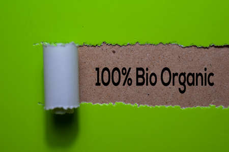 100% Bio Organic write on Green torn paper