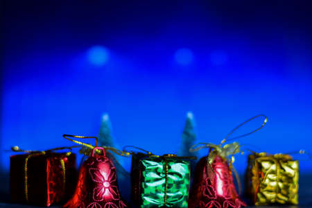 Close up decoration christmas gifts isolated on bokeh background